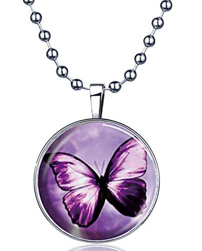 Yumilok Damen Halskette Mädchen Kette mit nachtleuchtend Anhänger Schmetterling Legierung Medaillon Amulett für Damen Mädchen Blaues Licht Lila