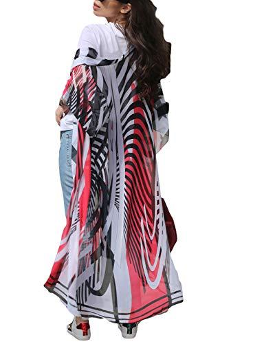 Bsubseach Mujer Kimono Cárdigan de Gasa de Rayas Ropa de Playa Suelto Encubrir Bikini Camisola y Pareos