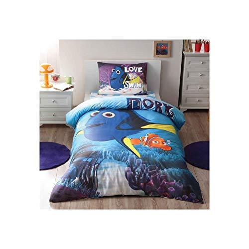 Disney findin Dory cama individual Cama Edredón (160x 220cm), 100% algodón, con funda nórdica, sábana Acke (100x 200cm) y funda de almohada (50x 70cm) fabricado en Turquía