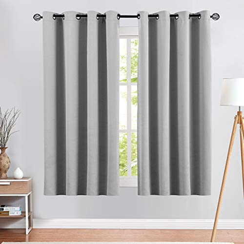 Grey Blackout Curtains for Bedroom 63 inches Long Triple Weave Window Curtain Panels for Living Room Darkening Boy Room Thermal Insulated Drapes Grommet Top 1 Pair Gray