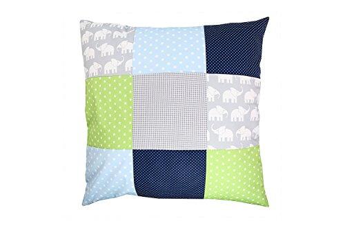 ULLENBOOM ® patchwork kussenhoes l 60x60 cm l katoenen kussensloop voor sierkussens in de kinderkamer en babykamer I olifant blauw groen