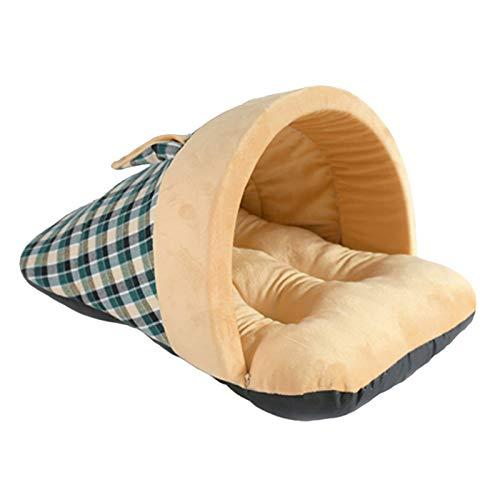 Basenla Warm Hundebett Haustierbett Kuschelhöhle Schlafsack für Katzen Kätzchen und Hund (Grün,S)