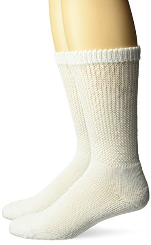 Dr. Scholl's 2 Pack Diabetes and Circulatory Crew Socks with Grippers,white,Large, Shoe size: 8-12 Women, 7-12 Men