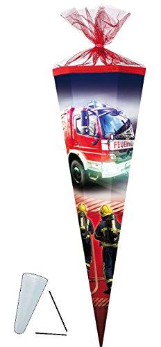 alles-meine.de GmbH Schultüte -  Feuerwehr  - 50 cm - rund - mit Tüllabschluß - Zuckertüte - mit / ohne Kunststoff Spitze - für Jungen - Auto Rettung / Notruf - Feuerwehrauto -..