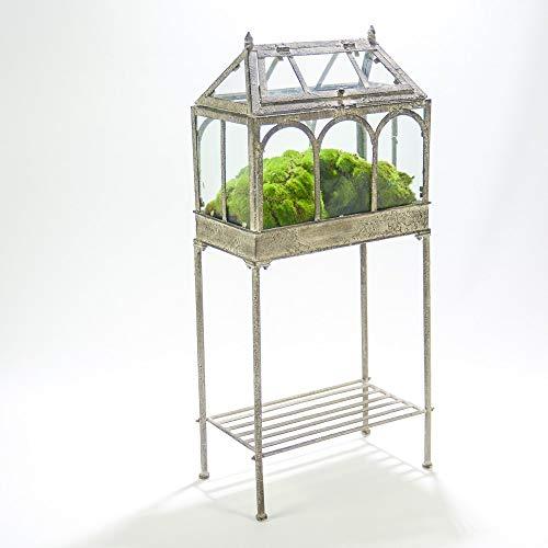 tapidecor Gewächshaus Metall grau antik Moos grün
