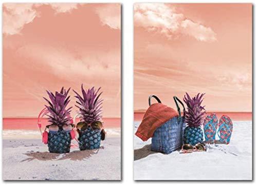 SHKHJBH Pintura Moderna 2 Piezas 50x70cm sin Marco Vista al mar Abstracta Cielo Rosa Playa Piña Arte de la Pared Pintura con Gafas de Sol Divertido Cartel de decoración del hogar