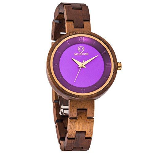 Damen holzuhr-UWOOD Luxus Handgemachte Holzuhr 35mm Holz Armbanduhr Damen Armbanduhr aus Holz Damen Uhren (E1003Acacia)