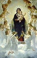 キャンバス印刷、ウィリアム・アドルフ・ブーグローキャンバスプリント油絵画ポスター再生(天使の女王)、寝室のための壁の装飾の絵、フレームレス,50×75cm