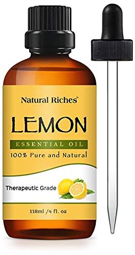Natural Riches Lemon Oil, Therapeutic Grade, 100% Pure and Natural - Premium Therapeutic Grade with Glass Dropper, 4 Ounces