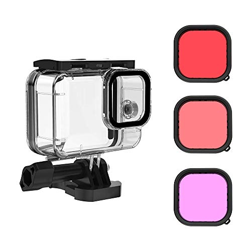 Taoric Waterproof Case with 3 Pack Dive Filter for Gopro Hero 9 Black Supports 45M148FT Underwater Scuba Snorkeling Deep Diving with Red Magenta Filter