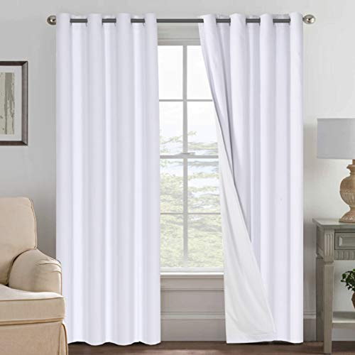Linen Blackout Curtains 84 Inches Long 100% Absolutely Blackout Thermal Insulated Textured Linen Look Curtain Draperies Anti-Rust Grommet, Energy Saving with White Liner, 2 Panels, White