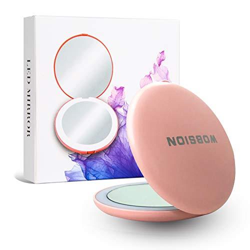 Wobsion Mini LED Taschenspiegel Klein Kosmetikspiegel,handspiegel mit licht,Reise kosmetikspiegel reise,3.5 Zoll Make Up Spiegel,Kompakt,Klappbar,Verzerrungsfrei Perfekt,Zweiseitiger,Geschenke,Pink
