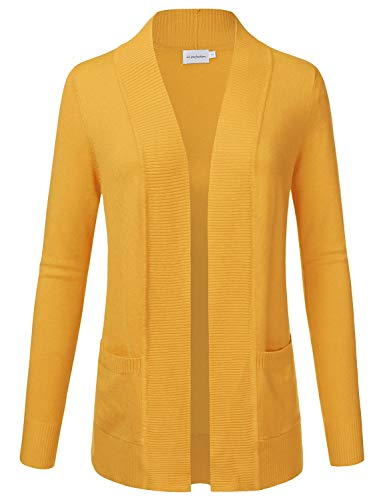 JJ Perfection Women's Open Front Knit Long Sleeve Pockets Sweater Cardigan Mustard XL