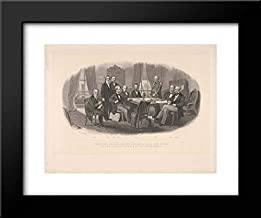 Robert Whitechurch - Christian Schussele - 24x20 Framed Museum Art Print- President Lincoln and His Cabinet, with Lt. General Scott, in The Council Chamber at The White House