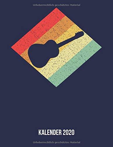 Kalender 2020: Terminplaner A4 - Retro Vintage Akustikgitarre Wochenkalender & Monatsplaner 2020 - Geschenk für Gitarristen