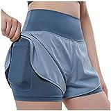 SHOBDW Pantalones Cortos Mujer Deportivos para Mujer Cintura Alta Push Up Deportivas Elásticos Pantalones Deportivos Anticeluliticos Casual Gimnasio Ejercicio Playa Liquidación Venta(Azul,XL)