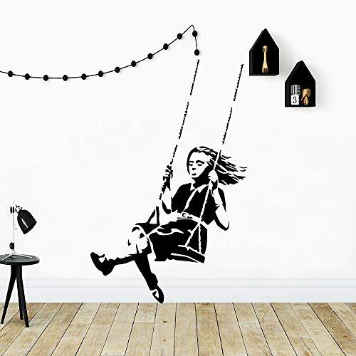 TYLPK 3D Banksy Schaukel Mädchen Home Decor moderne Acryl Dekoration Vinyl Aufkleber Raumdekoration