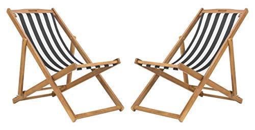 Safavieh PAT7040C-SET2 Outdoor Collection Loren Teak, White Foldable Sling Adirondack Chair, Natural/Black Stripe