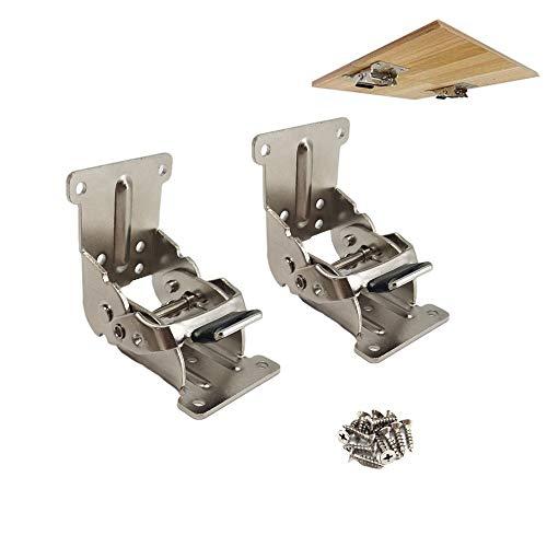 Soportes plegables 2 piezas de soporte de extensión de bloqueo - 0-90-180 grados Bisagra de autobloqueo para mesa de...