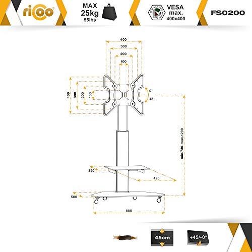 RICOO LCD TV Ständer Standfuss Glas Standfuß Halterung Neigbar FS0200 Schwenkbar Drehbar mit Rollen Höhenverstellbar LED Fernseher Stand Möbel Rack VESA 400×400 Universal inkl. DVD Receiver Glas Regal - 2