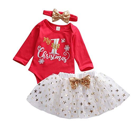 Carolilly Abito Neonata di Natale 3 Pezzi Completo Pagliaccetto a Manica Lunga+Gonna in Tulle di Stelle +Fascia per Capelli Il Mio Primo Natale Set di Bambine di Natale