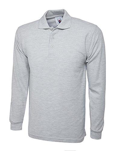 Uni Manches Longues Chemise Polo décontracté Loisir Vêtements De Travail Col Conique UC113 - Unisexe, Gris Chiné, X-Large