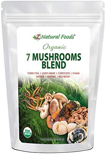 Organic 7 Mushroom Supplement For Immune Support - Lion's Mane + Cordyceps + Chaga + Red Reishi + Shiitake + Maitake + Turkey Tail - Superfood Powder Blend for Coffee & Tea, Non GMO, Gluten Free, 1 lb