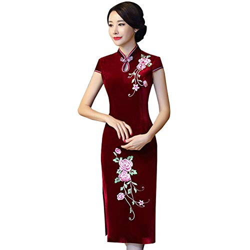 Xinvivion Cheongsam de Terciopelo Dorado para Mujer - Seda Floral Cheongsam Chino Vestido Medio Largo Qipao Delgado