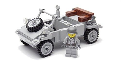 BricksStuff Kübelwagen con Figura I Soldado Alemán de la Segunda Guerra Mundial, Accesorios Personalizados de BrickArms | Kit con Instrucciones | Compatible con Lego®