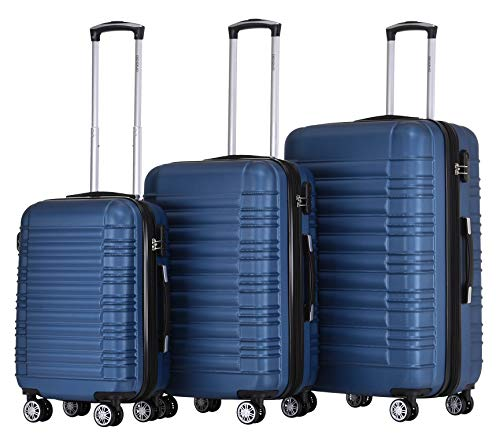 BEIBYE Zwillingsrollen Reisekoffer Koffer Trolleys Hartschale M-L-XL-Set (Blau, Set)
