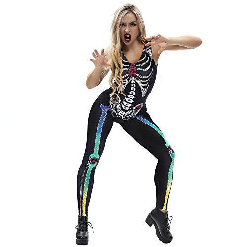 Dames skelet botten punk stramler skelet body Halloween modern pak jumpsuit carnaval overall mouwloos slim fit playsuit voor carnaval clubwear