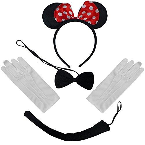 Zwart, rood, wit potten Minnie Mouse oren en staart en handschoenen