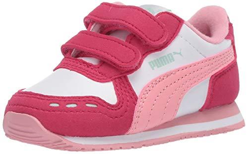 PUMA Baby Cabana Racer Velcro Sneaker, Whitebright Rose-Peony, 9 M US Toddler
