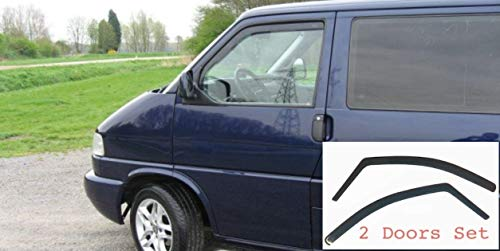 Dark Smoke Rain Snow Sun Guards 2pcs Set IN-CHANNEL Visors compatible with Volkswagen Vw T4 Transporter 1990-2003 AUTEX Wind Deflectors