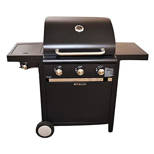 KE GRILL Barbecue A Gas Pietra LAVICA 3 FUOCHI con FORNELLO ARREDO Giardino BBQ da Esterno GRIGLIA Art.KE002