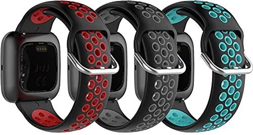 Chainfo kompatibel mit Fitbit Versa 2 / Versa 2 SE/Versa Lite/Versa smartwatch Armband, Silikon Uhrenarmband Sportarmband (3-Pack I)