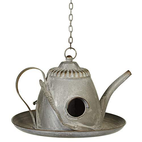 Midwest-CBK Silberfarbene Teekanne mit Löffel, 15,2 cm