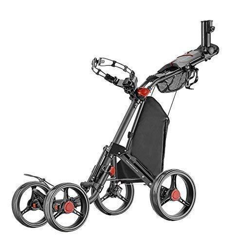 Caddytek Superlite Quad V2 4-Rad Trolley Push Golftrolley Golfcaddy Golfwagen (schwarz)