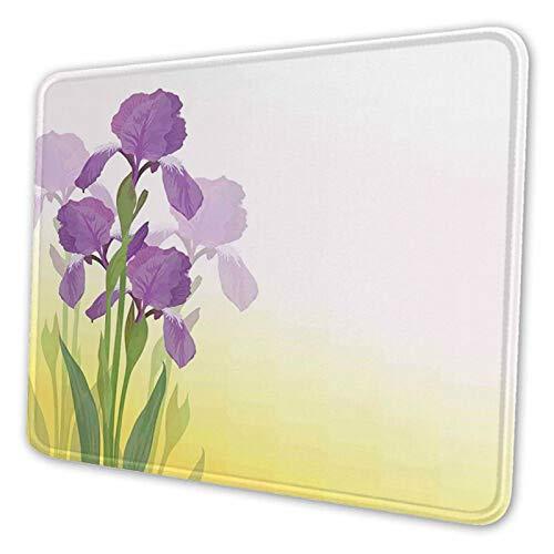 Bloemen van Iris met groene bladeren tuinplanten lente,Aangepaste muismat gepersonaliseerd ontwerp antislip rubberen muismat voor laptop