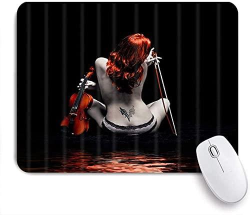 Mobeiti Gaming-Mauspad, Sexy Frau hübsches nacktes Tattoo-Mädchen mit Geige in schwarzer moderner Körperkunst rutschfeste Gummiunterlage Mauspad für Notebooks Computer Mausmatten