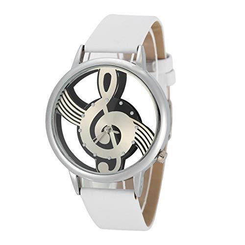 Pareja analógica que se ajusta al botón de marcación redondo hueco, correa de poliuretano, nota musical [02], reloj de pulsera de cuarzo para mujer