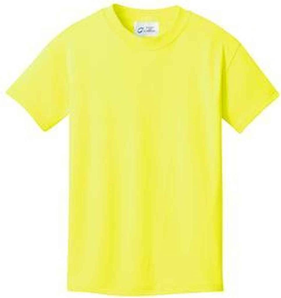 NEW Port & Company - Youth 5.5-oz 100% Cotton T-Shirt. PC54Y, Neon Yellow XS