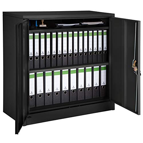 TecTake 800598 - Filing cabinet black, Shelves 2-door and Lock system - Different Models (Type 3 | No. 402941)
