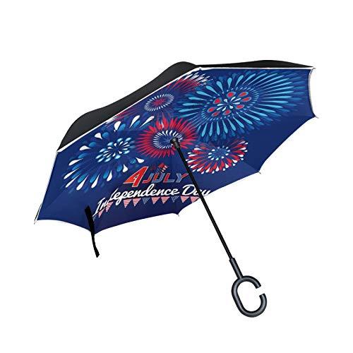 Double Layer Inverted Umbrella Winddichte Regensonnen-Regenschirme mit C-förmigem Griff - Unicorn Dash