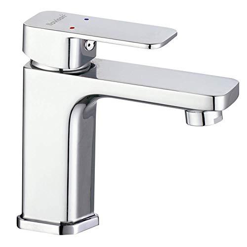 Kibath L444251 Grifo monomando de lavabo CHE diseño estilizado y cuadrado. Fabricado en latón y acabado cromo brillo. Incluye herrajes, latiguillos y cartucho. Repuestos garantizados