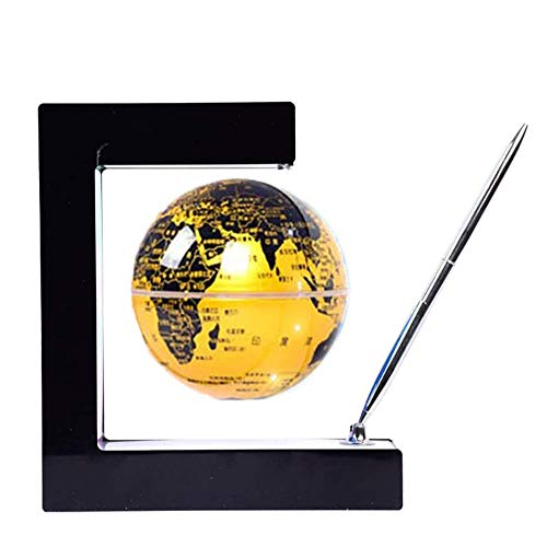Whinop 4 Pulgadas Bola del Mundo Levitacion con Luces Color LED,Amarillo Globo Magnetico para Decoración de Escritorio, Regalos para Niños