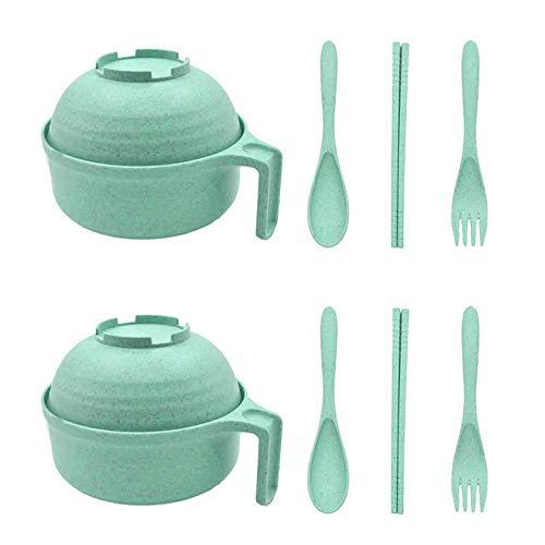 RETON 2 Pack tarwe strokom sets-onbreekbare ontvettingsbare grote Instant Noodle Bowls met deksel en handvat, Student Children's bestek Set graanschalen voor soep, rijst, dessert en salade (30 Oz) Groen