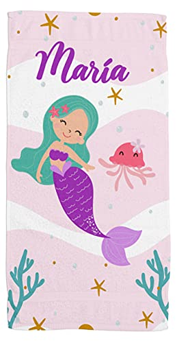 Toallas de Playa o Ducha Personalizadas con Nombre o Frases. Toallas Infantiles para niño y niña (Unisex). Regalo Infantil Original para baño, Piscina, Playa, Camping. (Sirena 2)