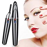 Heated Eyelash Curler, Upgrade Electric Eyelash Brush Lash Curler, USB Rechargeable Mini Eyelash Curler, 360° Automatic Rotary Eye Lashes Curling, Natural & Long Lasting Lashes Curlers, Quick Heating