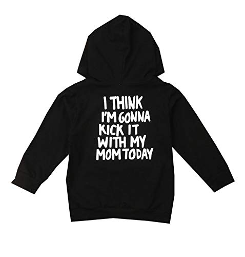 Unisex Baby Autumn Winter Hooded T-Shirt Infant Boys Girls Cotton Hoodies with Muff Pockets (4-5 Years, Print on The Back)